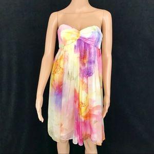 Forever New Strapless Floral Silk Dress